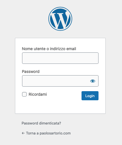Maschera di login WordPress