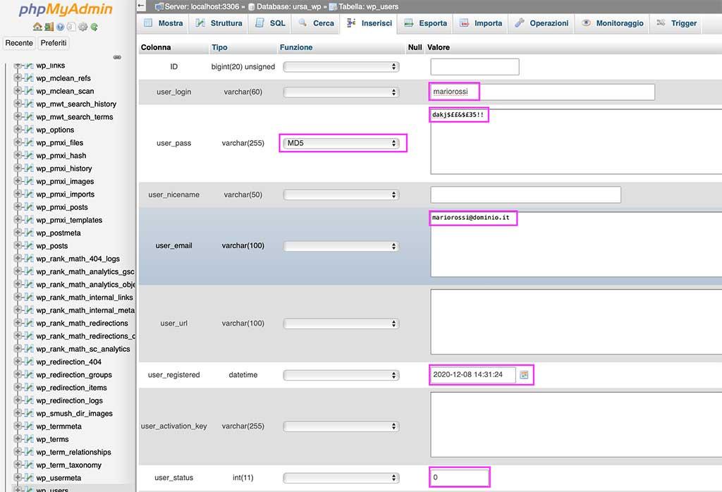 Inserire utente Admin da phpMyAdmin