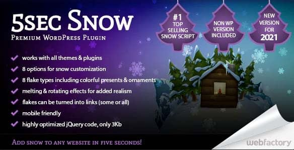 Effetto neve per WordPress con 5sec Snow